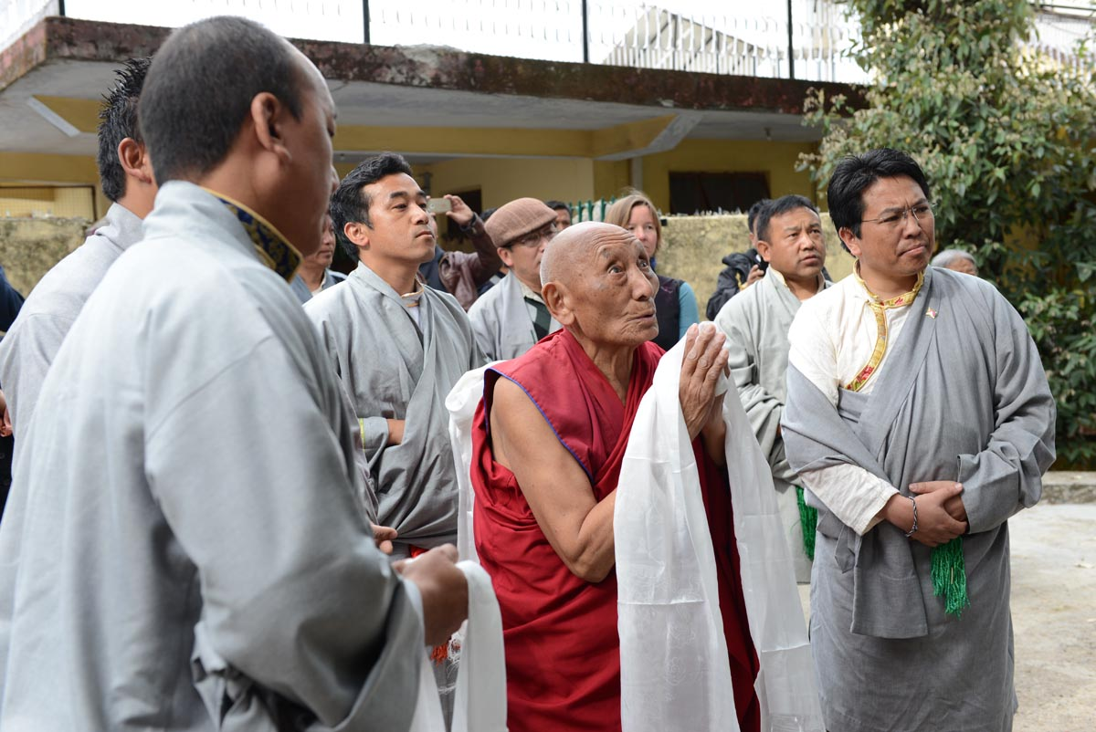 Palden Gyatso during the unveiling of the bust of Jamphel Yeshi
